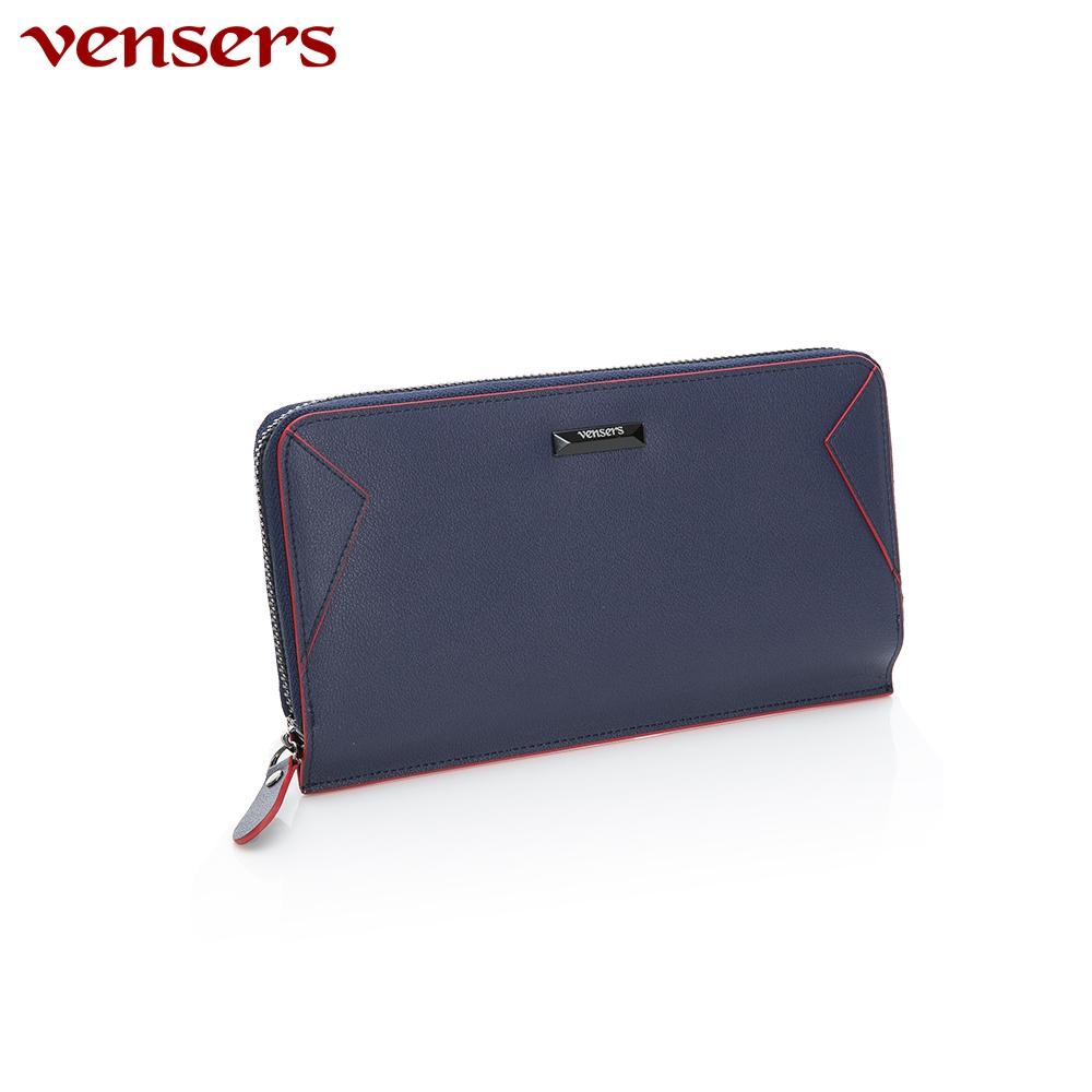 【vensers】小牛皮潮流個性皮夾~(TA556101寶藍長夾)