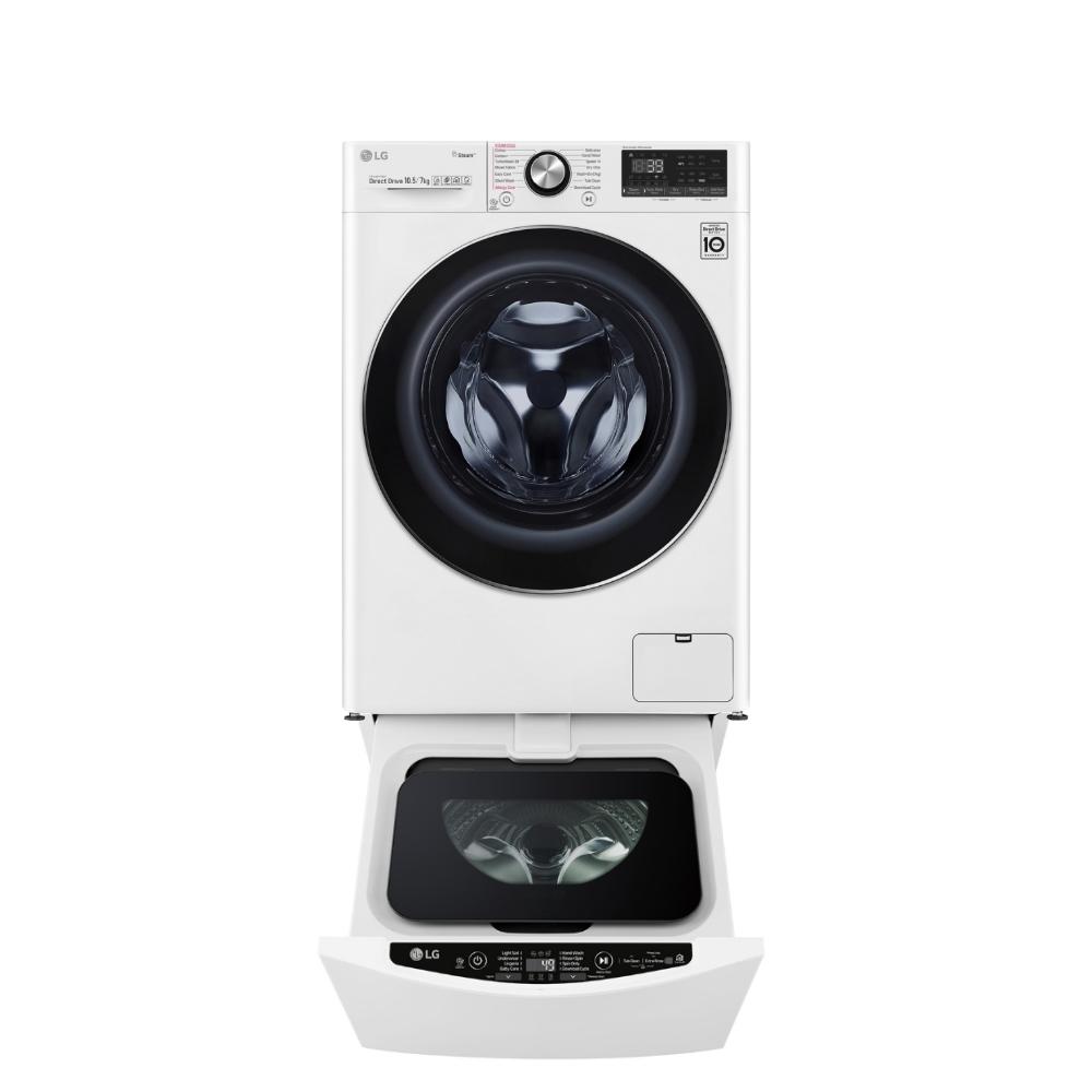 送陶板屋餐券3張★LG樂金滾筒洗脫烘-10.5KG+下層2KG洗衣機WD-S105VDW+WT-D200HW
