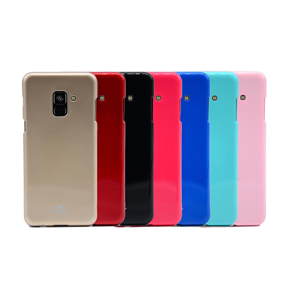 GOOSPERY SAMSUNG Galaxy A8(2018) JELLY 閃粉套(藍色)