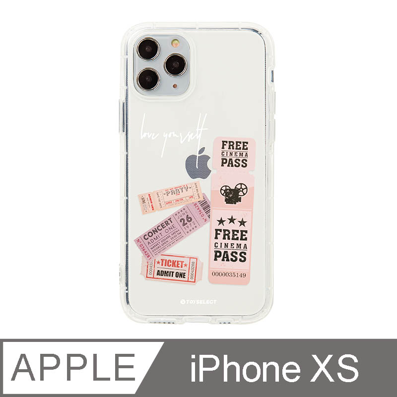 iPhone X/Xs 5.8吋 美式粉紅票卷透明空壓iPhone手機殼