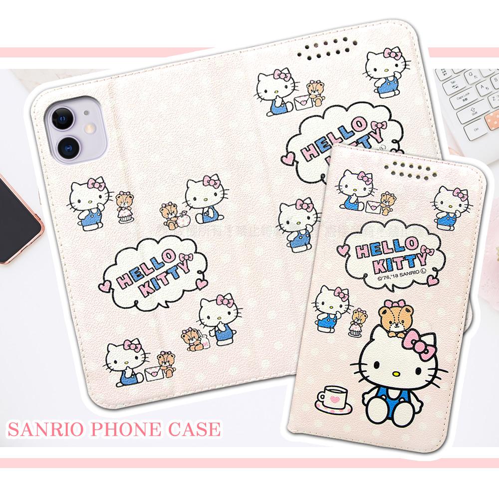 三麗鷗授權 Hello Kitty貓 iPhone 11 6.1吋 粉嫩系列彩繪磁力皮套(小熊)