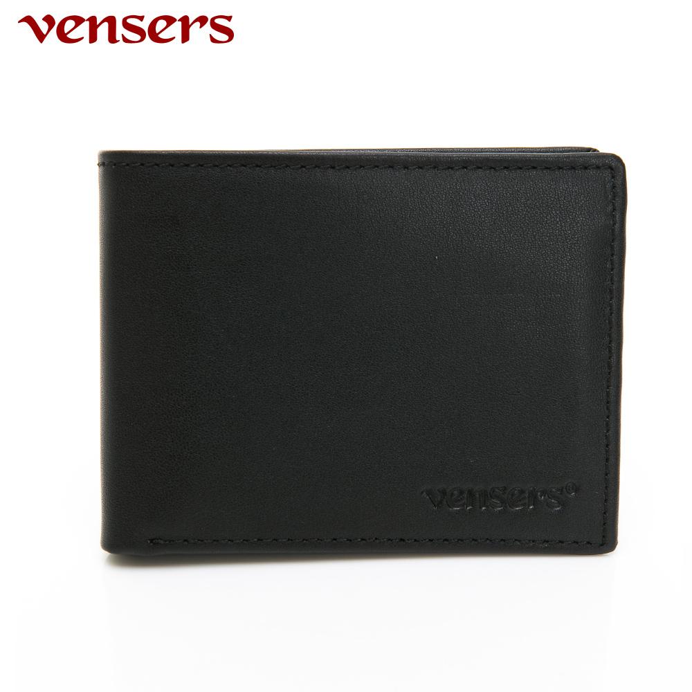 【vensers】小牛皮潮流個性皮夾~(NB368201黑色短夾)