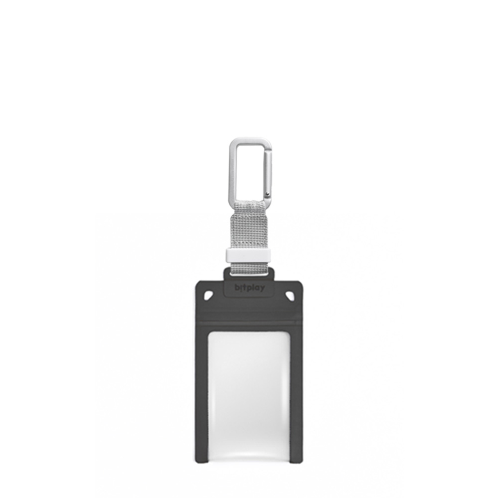 bitplay AquaSeal 防水機能證件套 - 暗夜黑 + 訂製掛鉤 - 銀色
