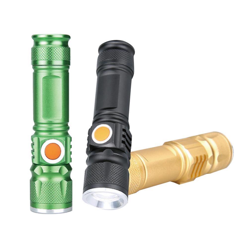 【贈自行車燈架】lestar USB充電LED強光變焦T6手電筒 360度旋轉 C型自行車燈架 - 金色