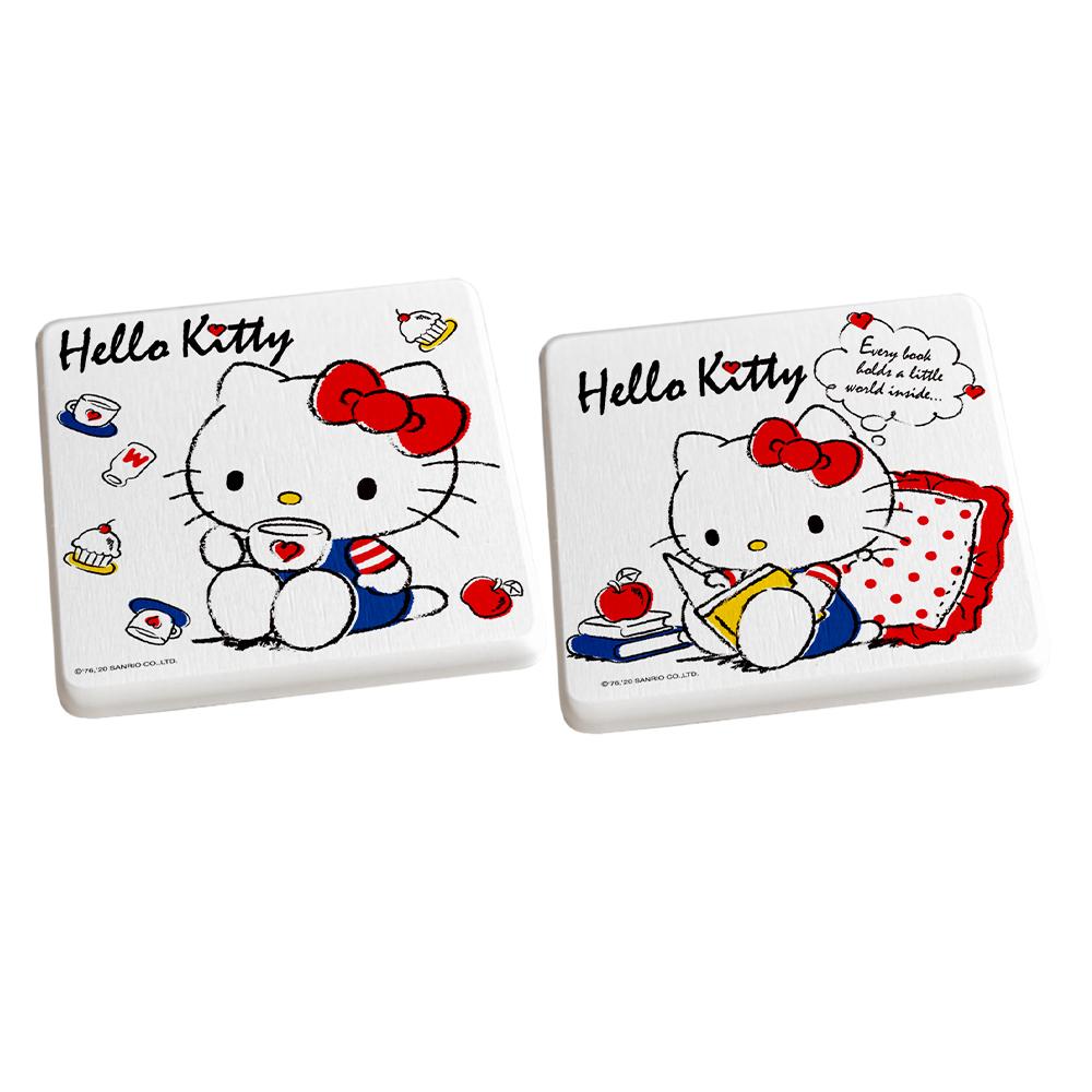 【收納王妃】HELLO KITTY凱蒂貓抱枕喝茶款/三麗鷗系列珪藻土杯墊(2入組)