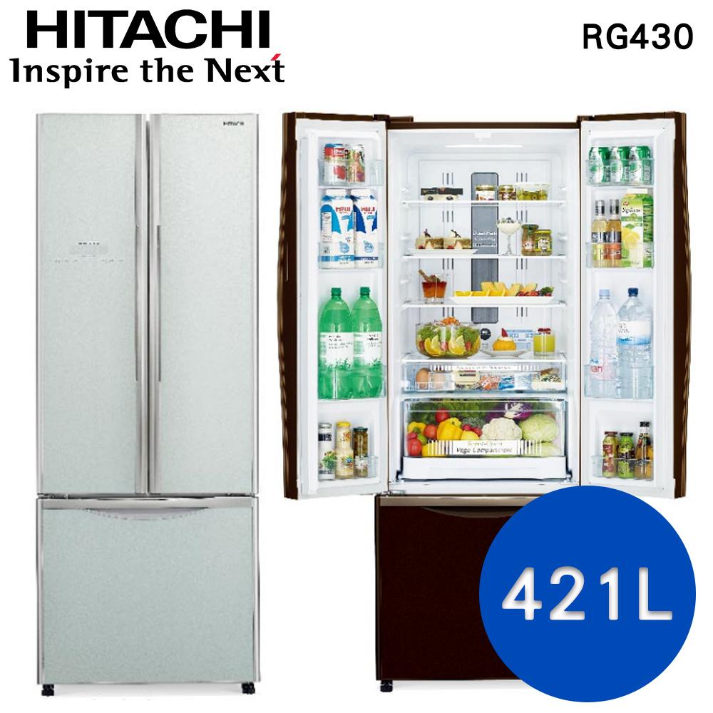 線上申請送2千元★【HITACHI日立】421L變頻三門冰箱RG430 (琉璃瓷)