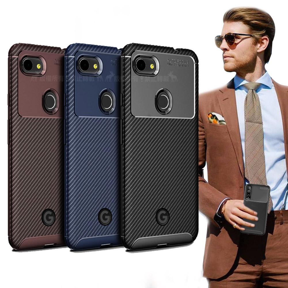 爵士焦點 Google Pixel 3a 碳纖維防指紋軟式手機殼 (西洋藍)