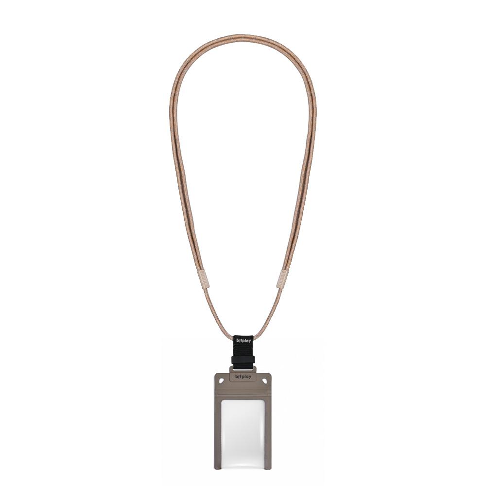 bitplay AquaSeal 防水機能證件套 - 沙漠黃 + 風格掛繩 - 棕色