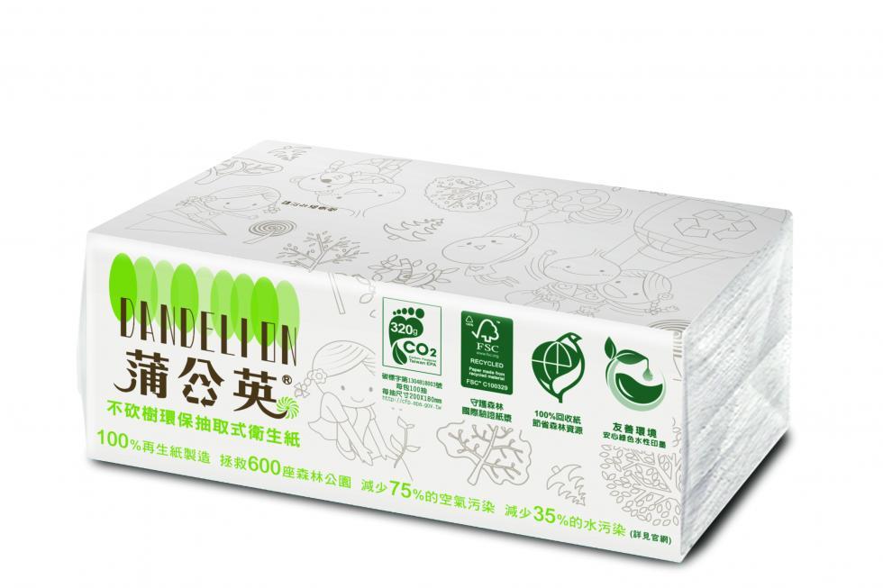 蒲公英環保抽取式衛生紙-100抽72包
