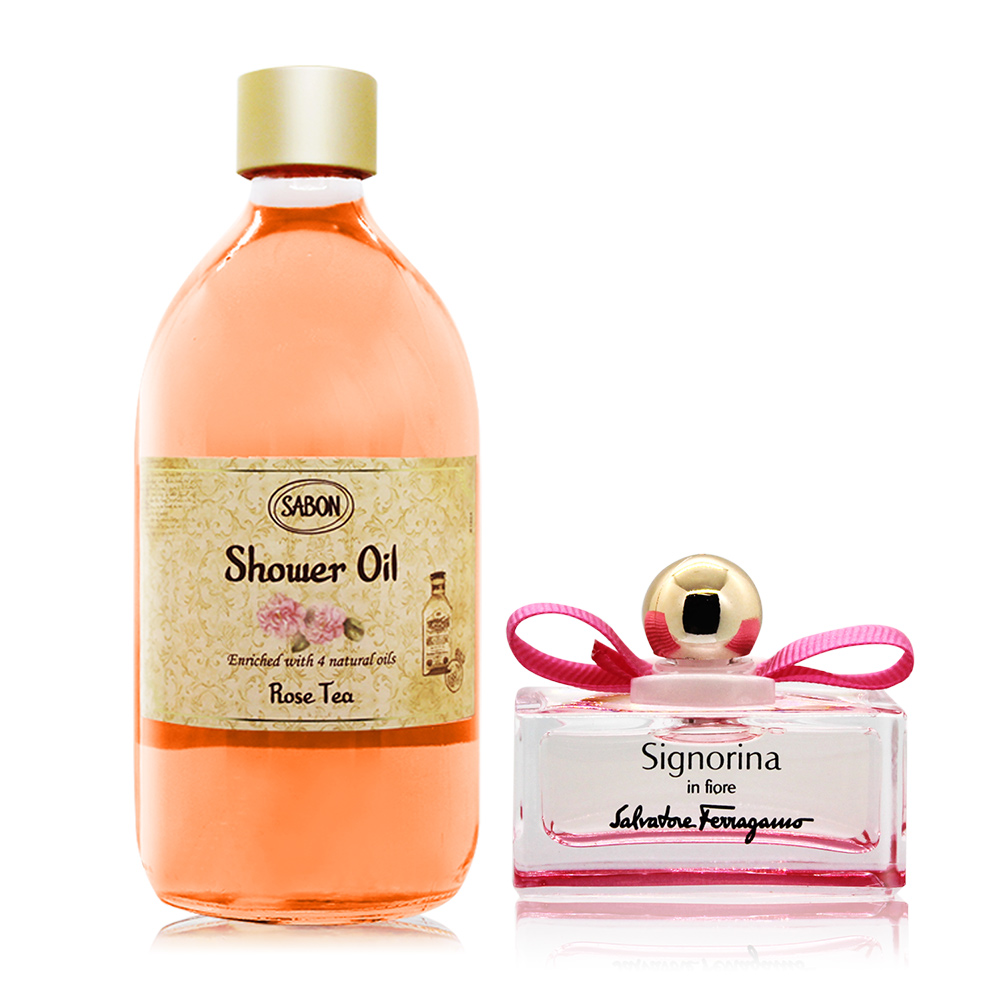 SABON 玫瑰茶語沐浴油(500ml)-國際航空版-贈花漾伊人小香(5ml)