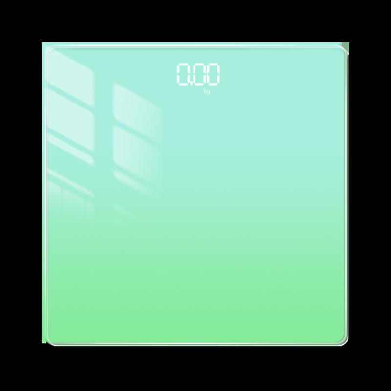 MTK雙色版極光漸變鋼化玻璃智能體重計A2(可下載APP觀看)淺綠色