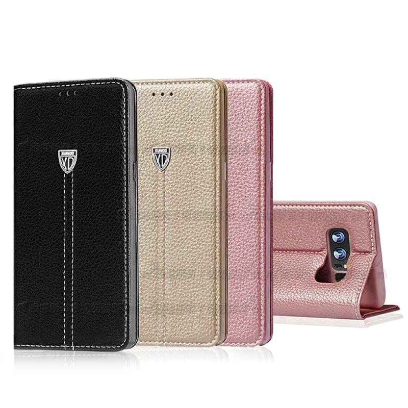 XUNDD 三星 Galaxy Note 8 奢華皮革支架磁力皮套(純黑)