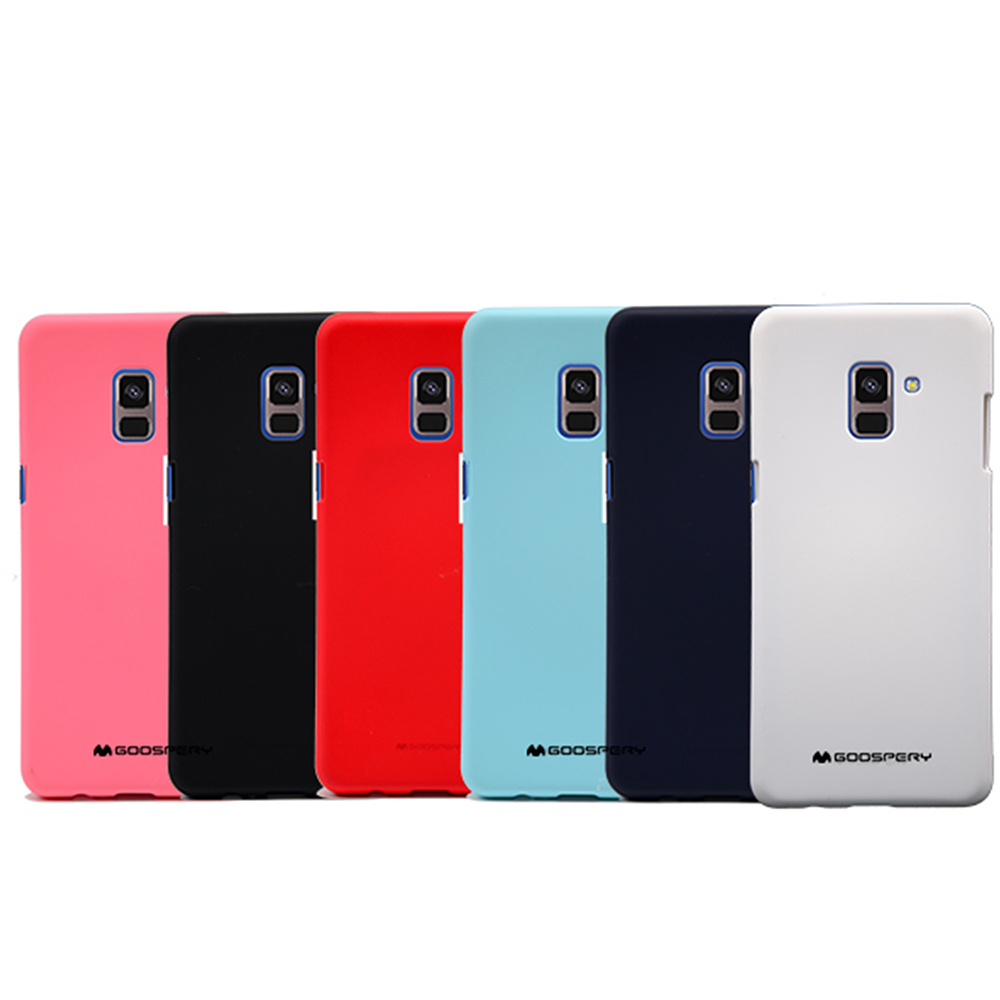 GOOSPERY SAMSUNG Galaxy A8+(2018) SOFT FEELING 液態矽膠殼(紅色)