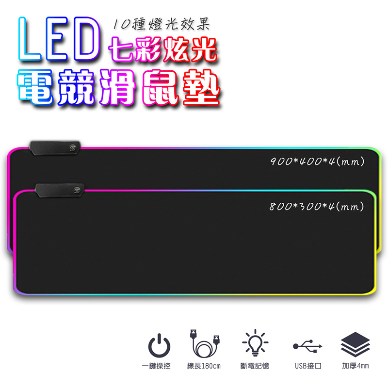 【FJ】LED七彩RGB炫光加大加厚滑鼠墊/桌墊P1(電競必備)特大款