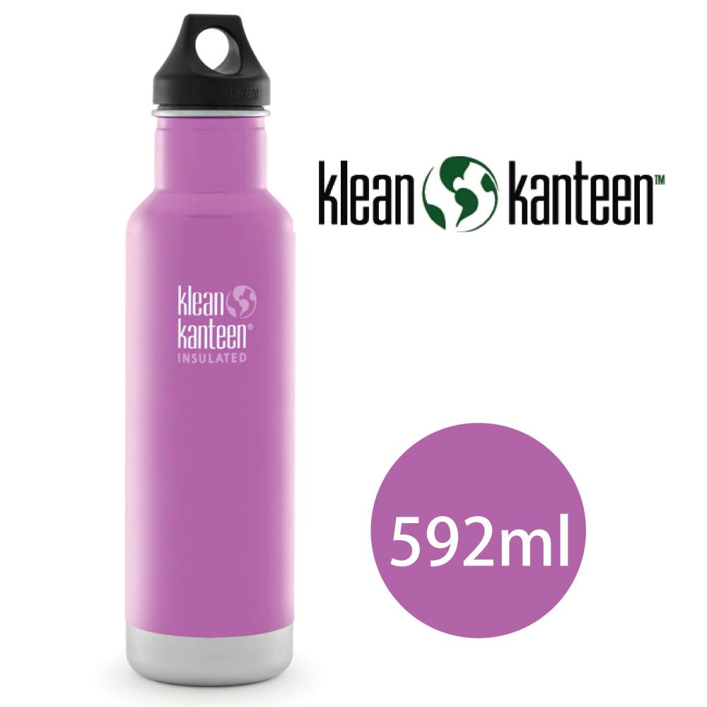 【美國Klean Kanteen】窄口不鏽鋼保溫瓶-592ml-粉紅花