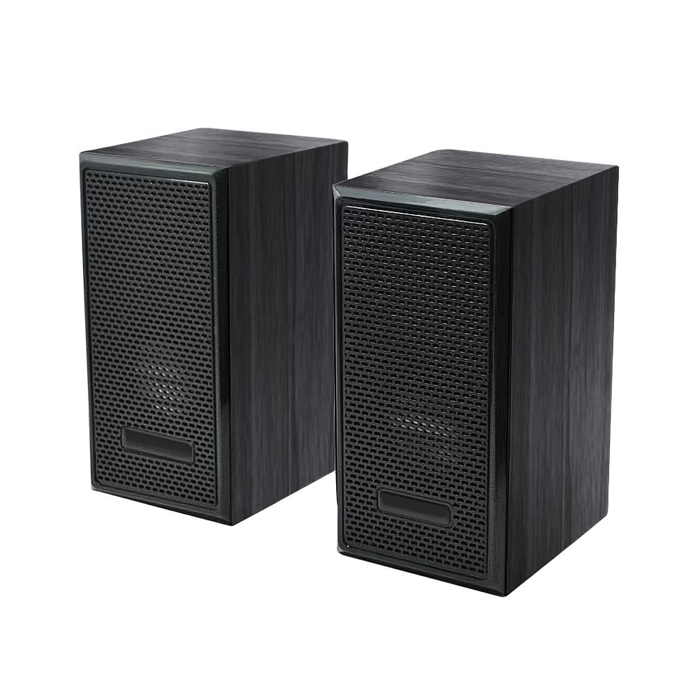FJ 重低音木質有線電腦喇叭F07 黑紋木