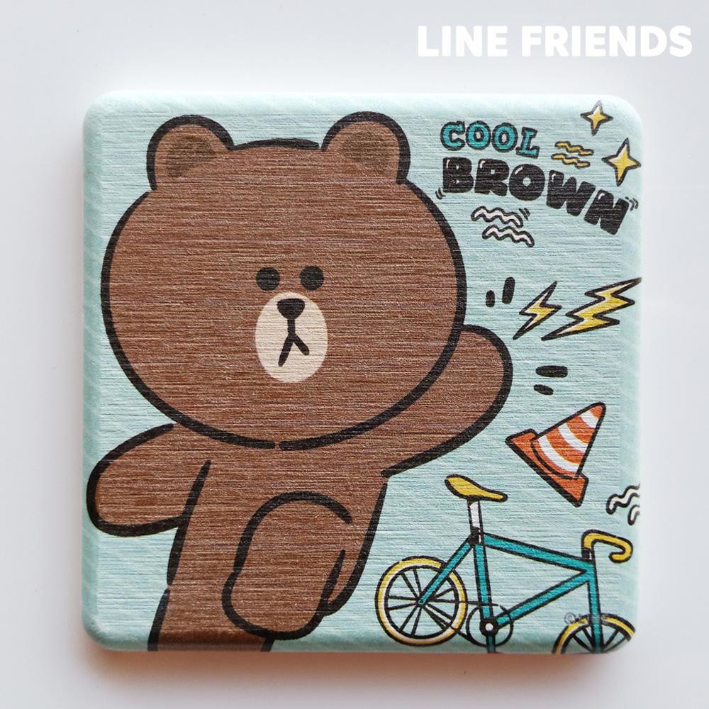 【LINE FRIENDS】手繪款 珪藻土杯墊//跑酷熊大