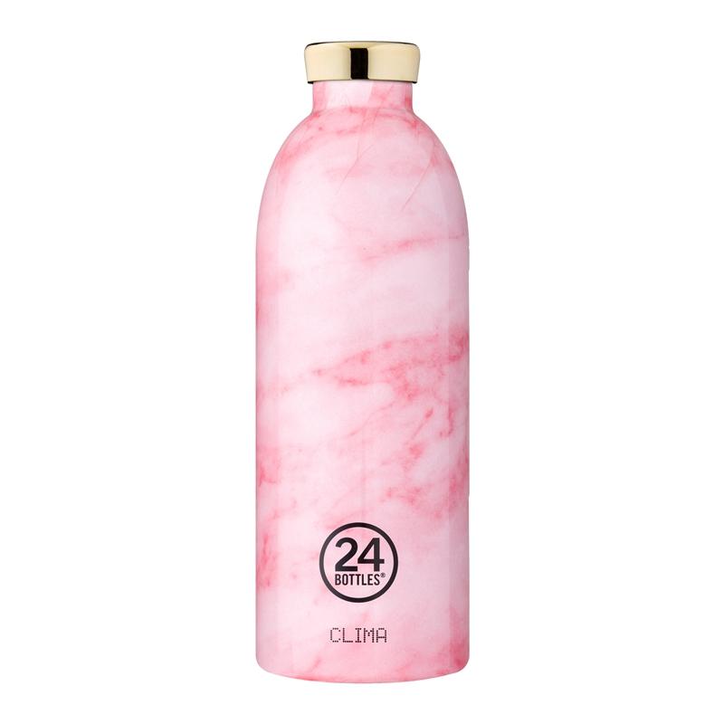 義大利 24Bottles 不鏽鋼雙層保溫瓶 850ml - 粉紅大理石