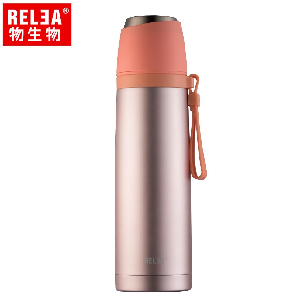 【香港RELEA物生物】500ml君悅一蓋兩用不鏽鋼保溫杯(破曉橘)
