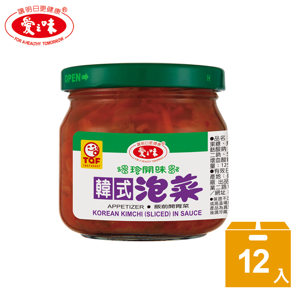 【愛之味】韓式泡菜(190gx12瓶/箱)