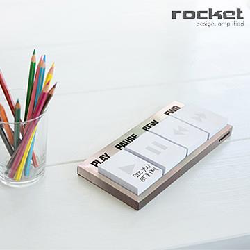 【義大利Rocket】辦公文具組-銀色 Play 便條Memo紙+音源線造型磁鐵