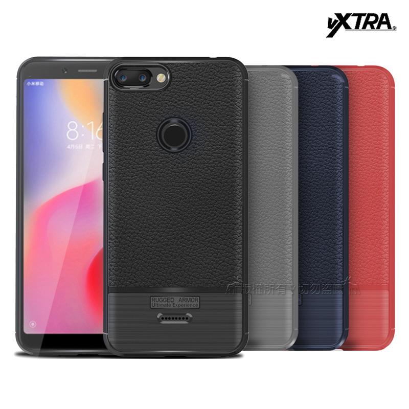 VXTRA 紅米6 防滑手感皮紋 軟性手機殼 (驚艷紅)