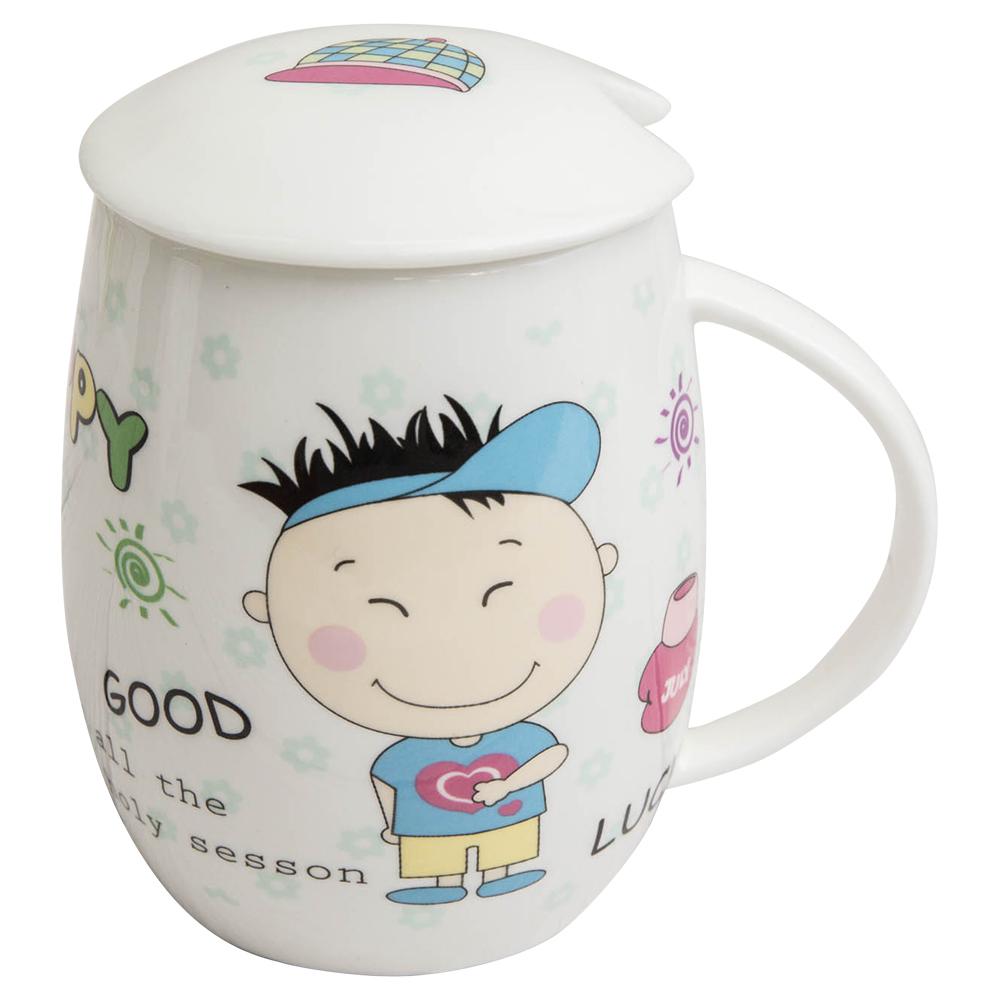 【Beatrice碧翠絲】蛋型骨瓷馬克杯附蓋-男孩
