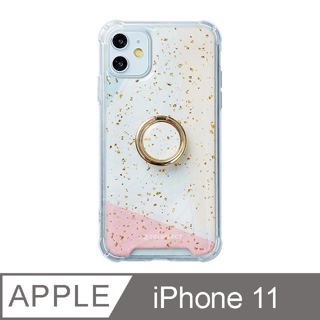 iPhone 11 6.1吋 日光幾何氣墊iPhone防摔殼 附贈同款電鍍指環支架