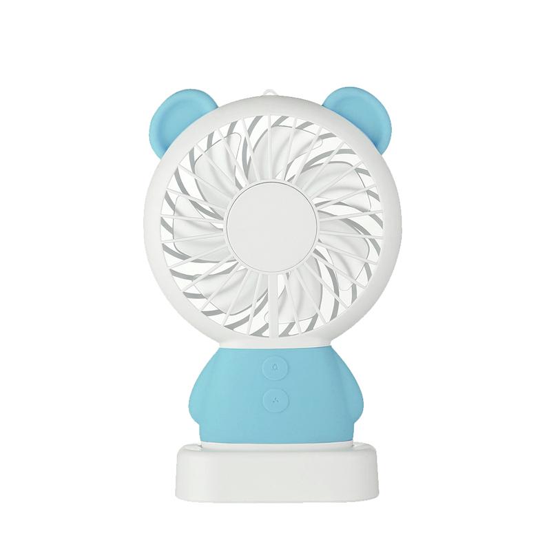 【新一代】達摩熊造型多功能USB隨行涼快風扇(手持/直立兩用)天空藍