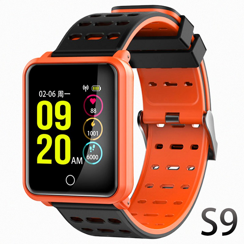【u-ta】彩色屏方款運動防水心率手環S9(公司貨)-橘色