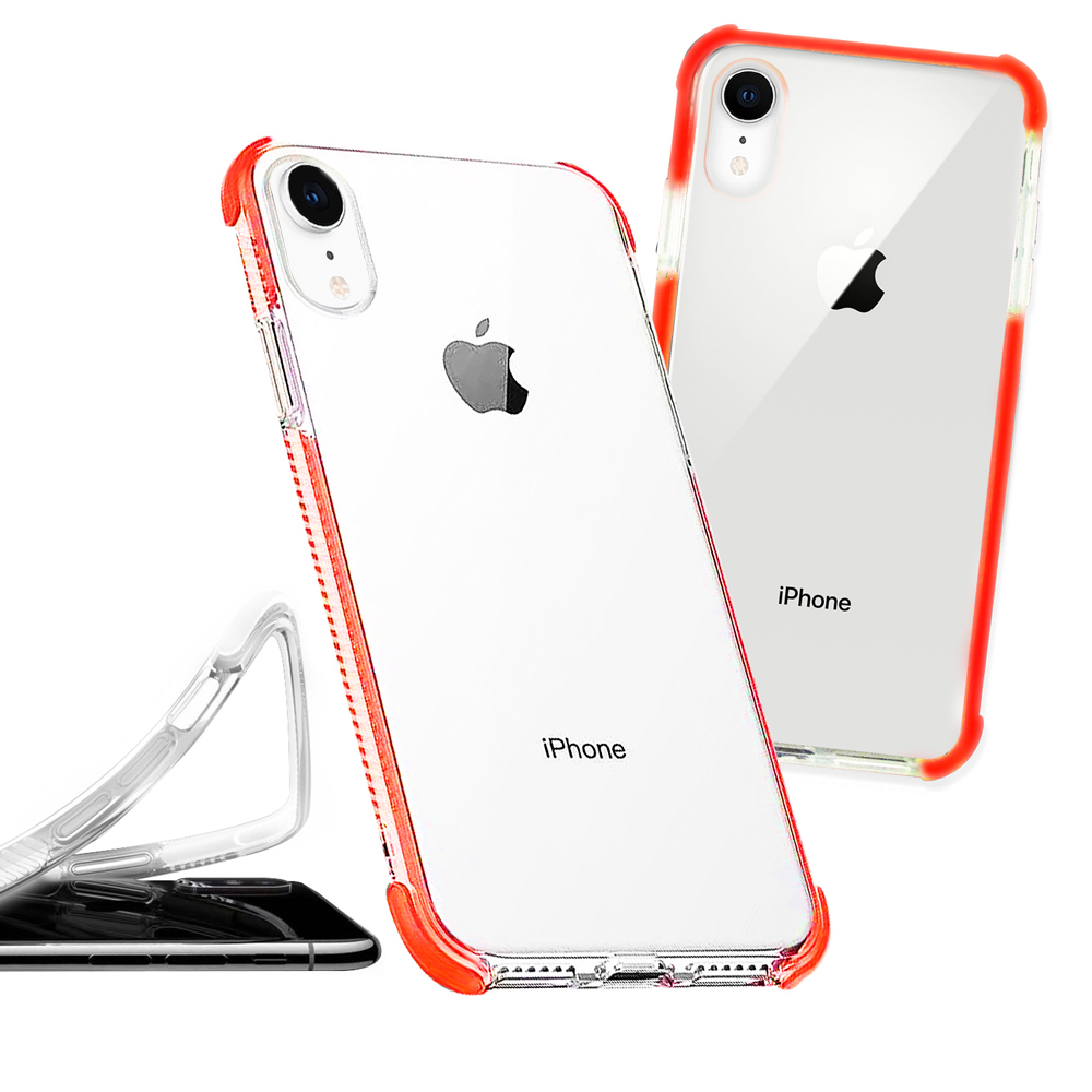 iPhone XR 6.1吋 彩虹多色邊條可換式防摔手機殼(秋分橘)