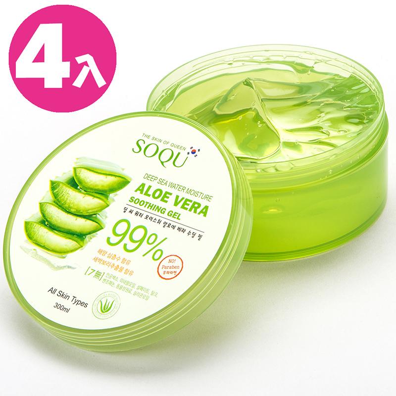 【SOQU】韓國 99%蘆薈補水保濕凝膠 300ml(4入)