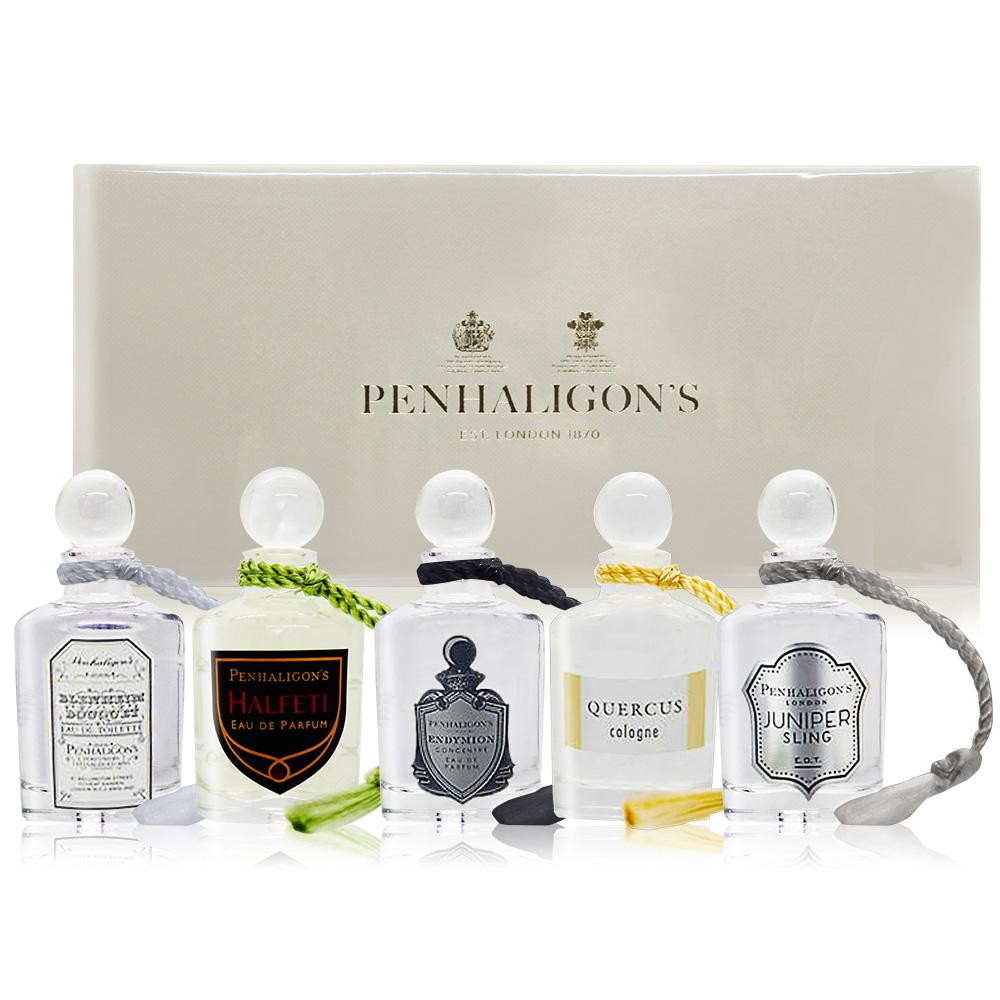 PENHALIGON'S 潘海利根 男性香水禮盒5入組[皇家橡樹+杜松司令+布倫海姆+牧羊少年+黑玫瑰](5mlX5)-國際航空版