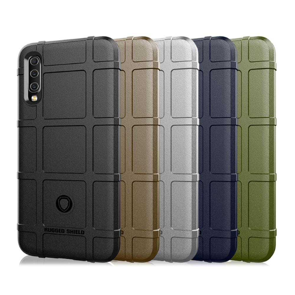 QinD SAMSUNG Galaxy A50 戰術護盾保護套(軍綠)