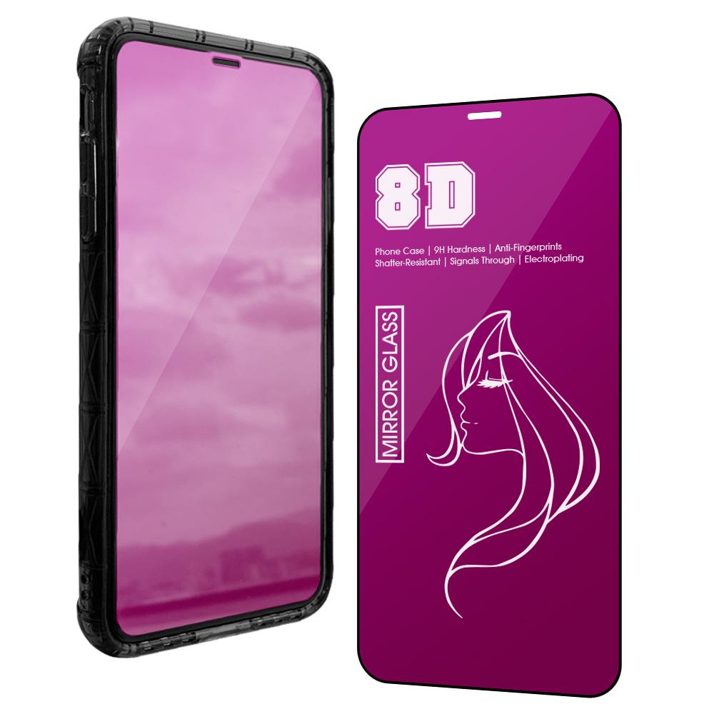 【AdpE】iPhone X/Xs / iPhone 11 Pro 通用 鏡面炫彩 9H黑邊滿版防爆鋼化玻璃貼-魅惑紫