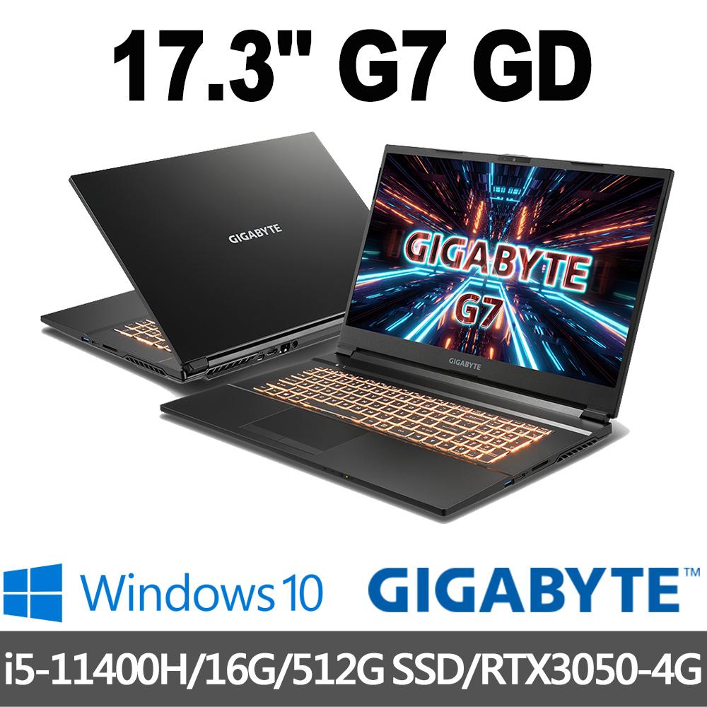 GIGABYTE技嘉 G7 GD 17.3吋 電競筆電(i5-11400H/16G/512G SSD/RTX3050-4G/Win10)