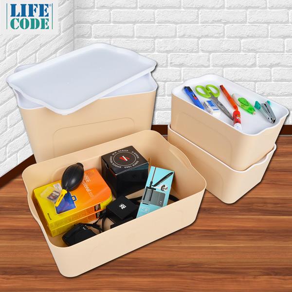 LIFECODE-可疊式衣物收納箱(4件套)-嫩膚色