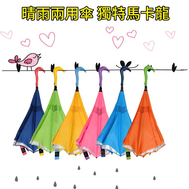 馬卡龍柄頭自動反向傘//清新藍+銘黃