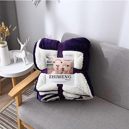 【ZHIMENG】雙人雙層加厚法蘭羊羔絨被毯-瑪瑙紫