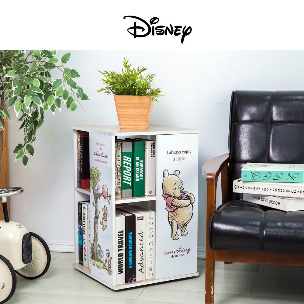 【收納王妃】迪士尼授權 小熊維尼 直立式旋轉書櫃 置物櫃 收納櫃 雙層櫃 床邊櫃