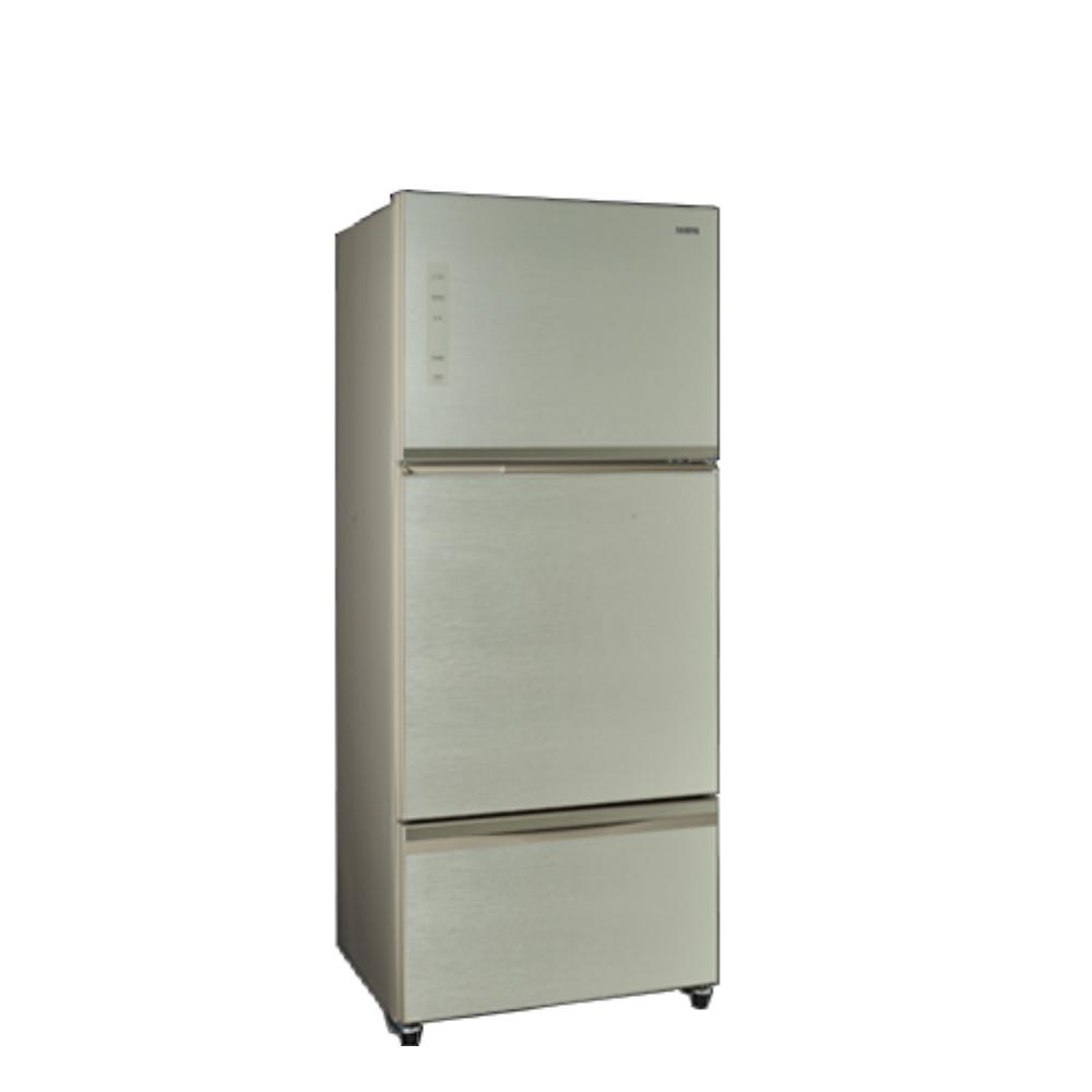 聲寶530公升玻璃三門變頻琉璃金冰箱SR-A53GDV(Y7)