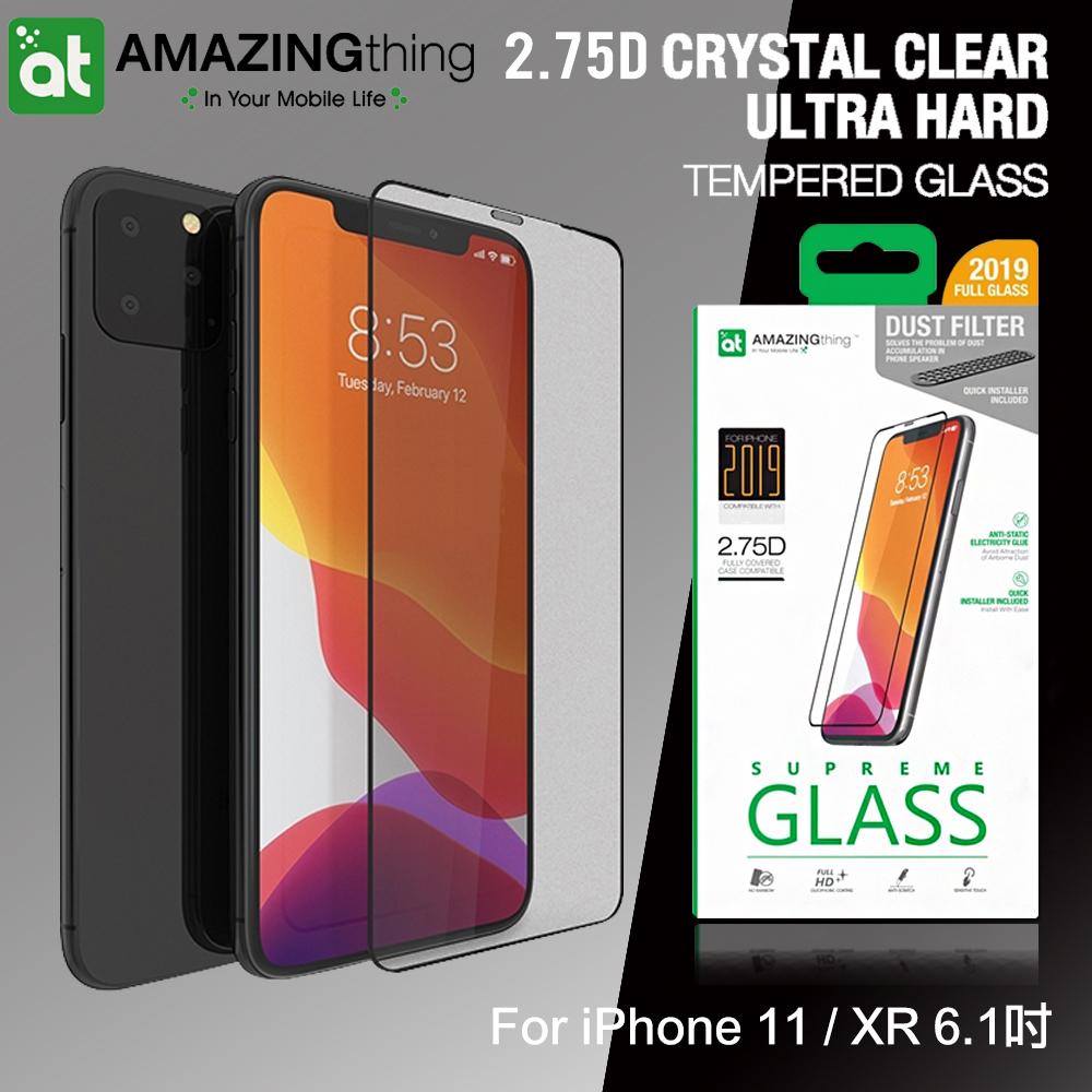 AT iPhone 11 / XR 6.1吋 共用款 2.75D防塵經典滿版 子彈系列9H鋼化玻璃膜(黑)