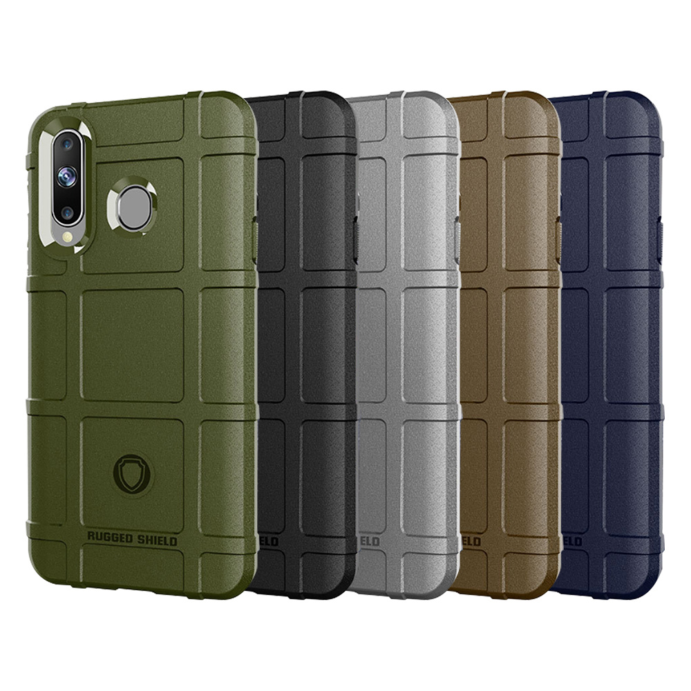 QinD SAMSUNG Galaxy A8s 戰術護盾保護套(棕色)