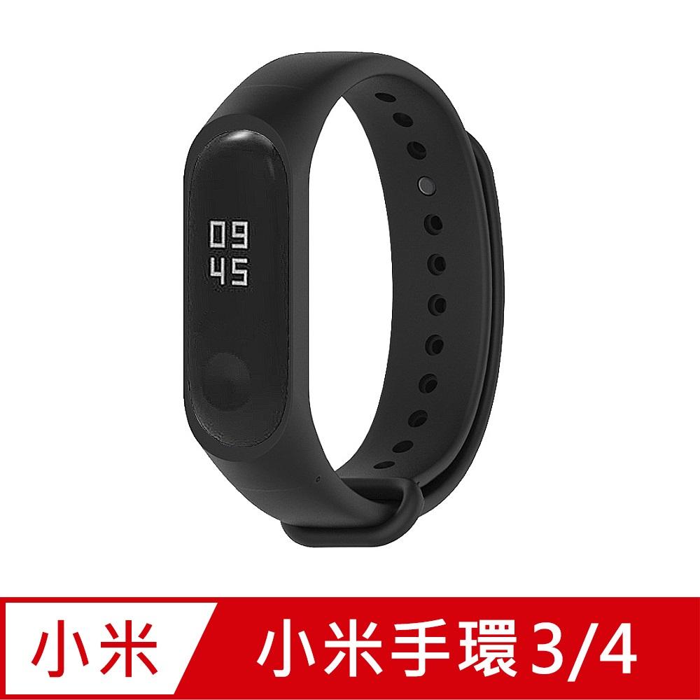 小米手環4代/3代通用 矽膠運動替換錶帶-黑色