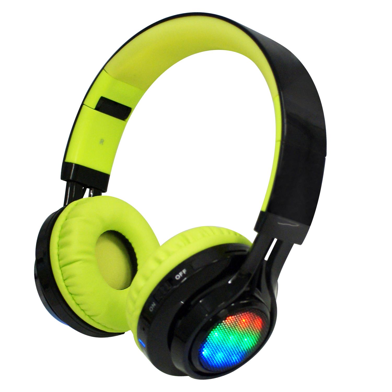 AB-005 全罩式LED炫光無線藍牙耳機麥克風(支援TF插卡/AUX音頻輸入)-黑綠色