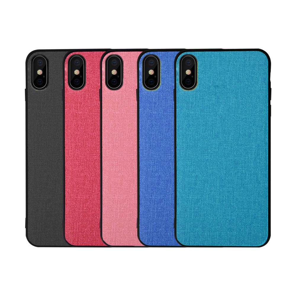 QinD Apple iPhone X/Xs 布藝保護套(烏木黑)
