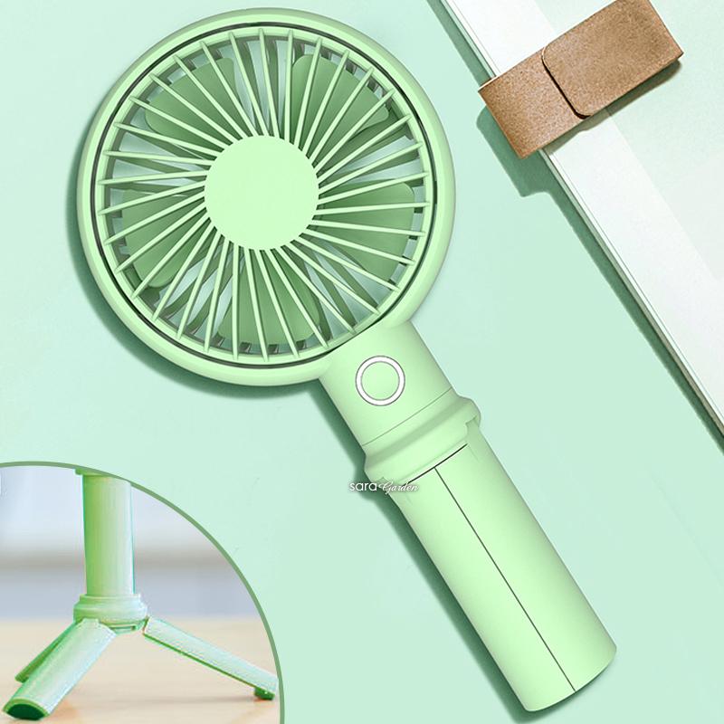 風扇 三腳架 磁吸 腳架 三檔 電風扇 手機支架 直播神器 充電 LED燈 俯仰 調高 手持 攜帶型 薄荷綠