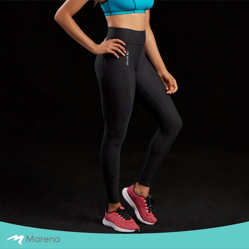 MARENA 日常塑身運動系列 中腰九分女性運動塑身褲(黑色-L)