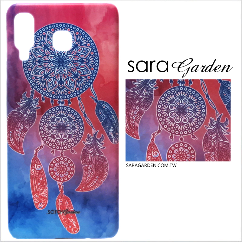 【Sara Garden】客製化 手機殼 Samsung 三星 A8 Star 藍粉捕夢網 手工 保護殼 硬殼