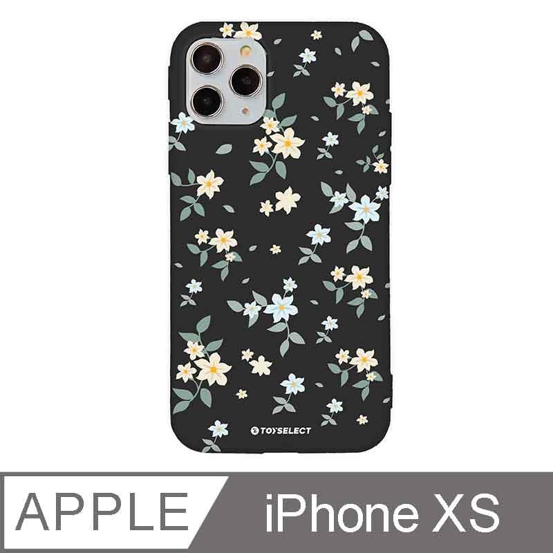 iPhone X/Xs 5.8吋 花言花語Flower Series設計iPhone手機殼 文藝栀子花 神秘黑